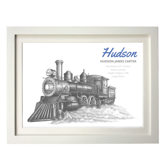 Steam train birth print
