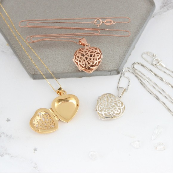sterling silver rose gold or gold filigree celtic heart locket