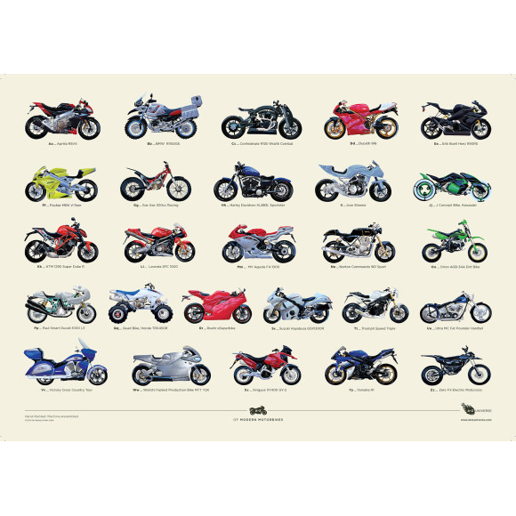 Hand Painted A to Z of Modern Motorbikes