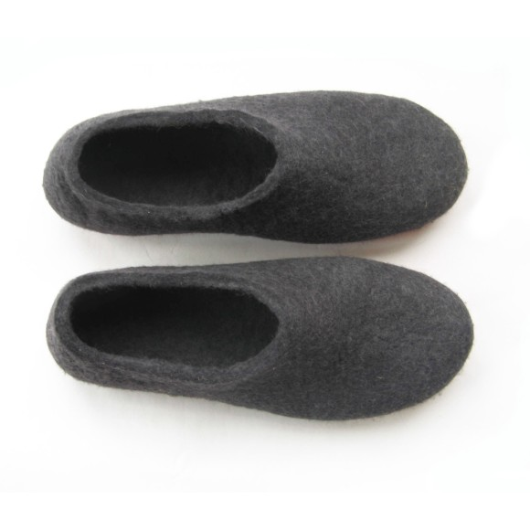 Red Sole Felted Wool Shoes Black. Women