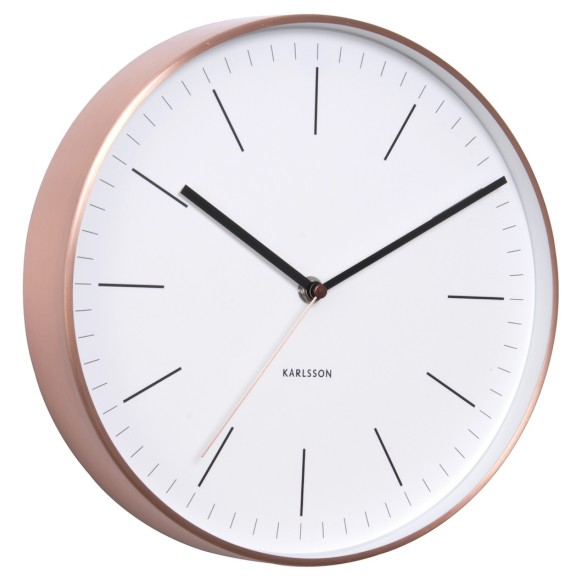 Karlsson Wall Clock Minimal In White With Copper Case