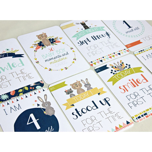 Baby Boys Milestone Cards