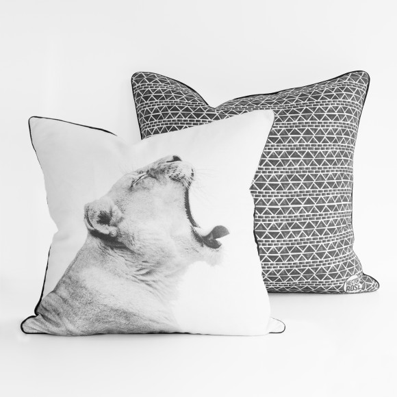 Hector Rose Lioness & Aztec Cushion