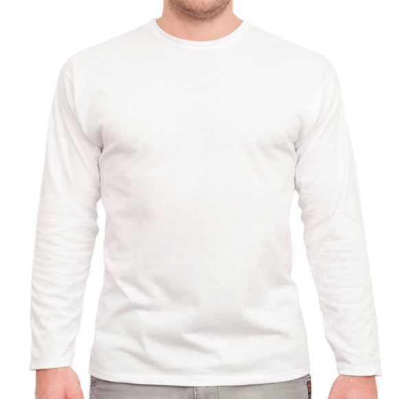 Men's White Long Sleeved Tee