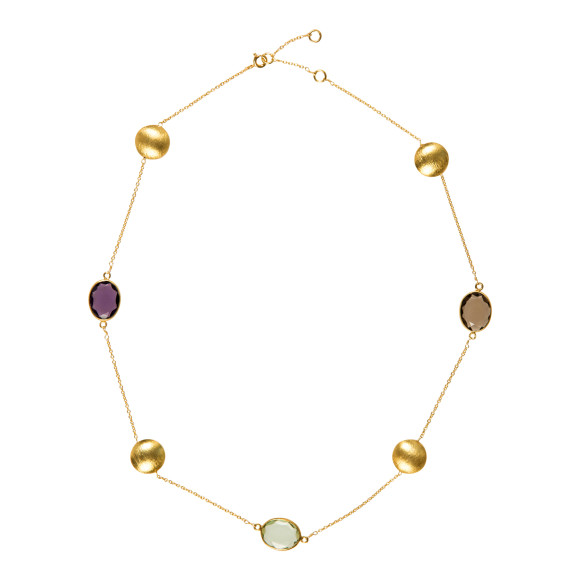 gemstone and gold necklace