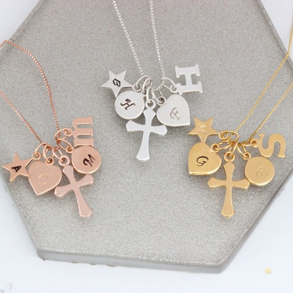 personalised cross in sterling silver, rose gold or gold with letter charms