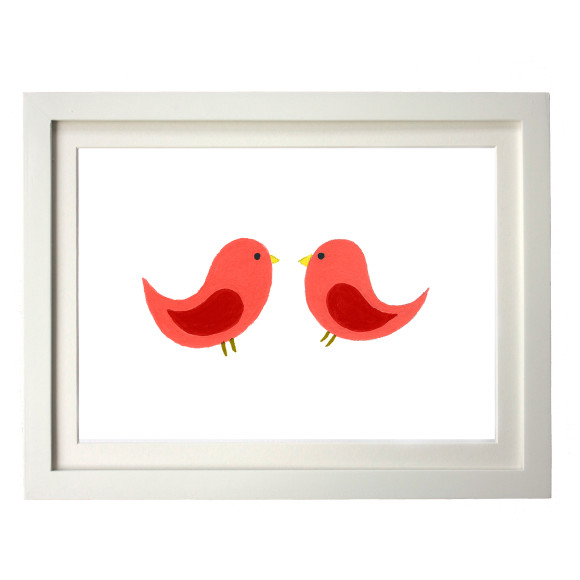 Twin red birds white frame
