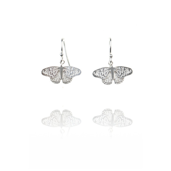 Amanda Coleman butterfly drop earrings silver