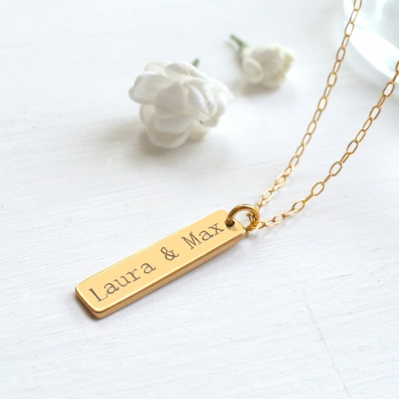 Personalised Gold Bar Necklace