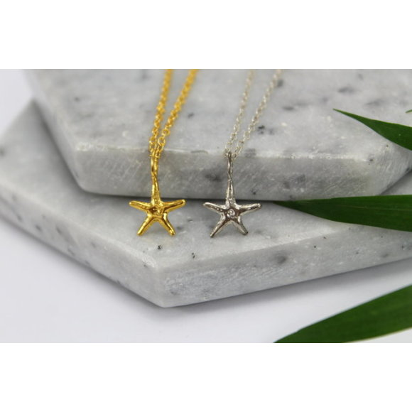 Sterling silver & gold starfish charm