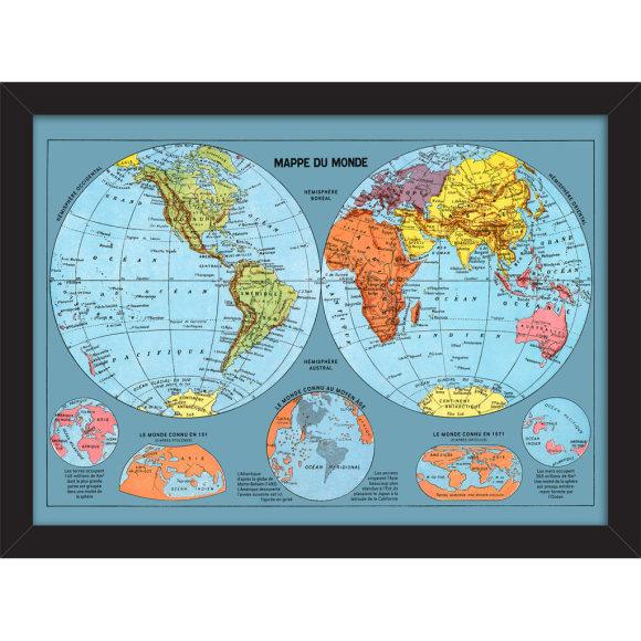Mappe du Monde: Framed