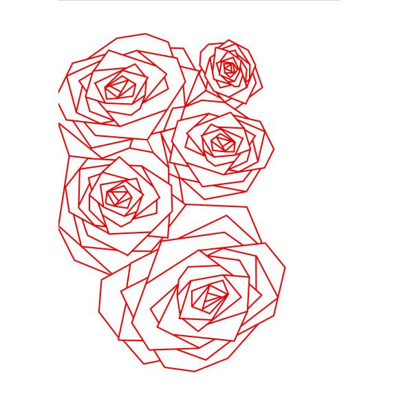 Geo Rose Red PRINT