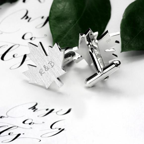 Maple leaf cufflinks personalised