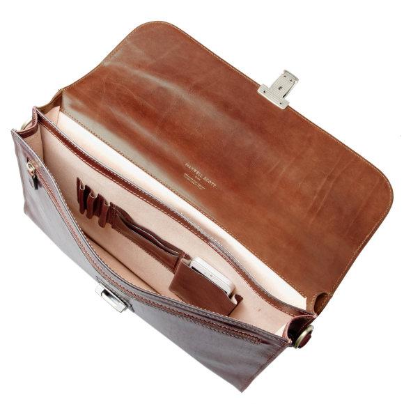 chestnut brown leather briefcase