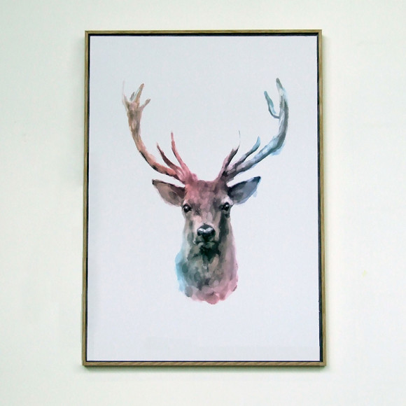 Reindeer Watercolour Framed