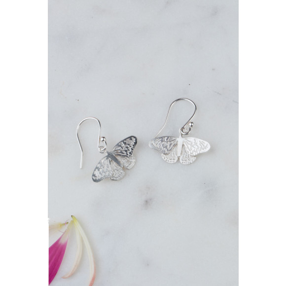 Amanda Coleman butterfly drop earrings silver lifestyle shot