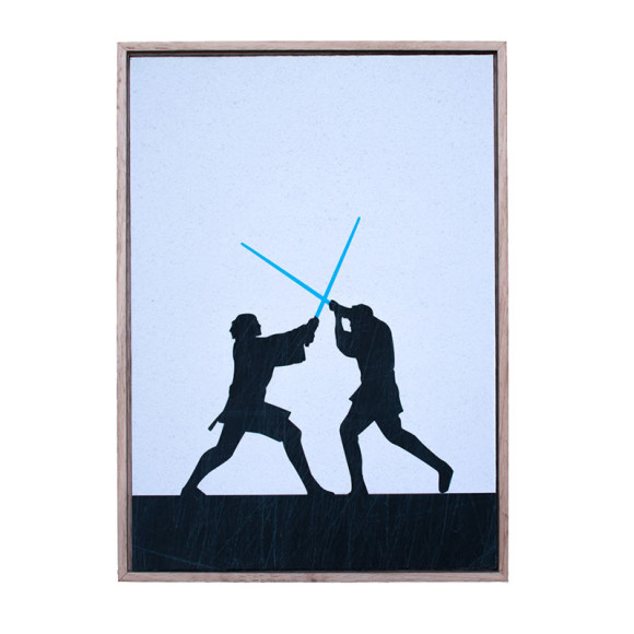 The Duel #2 in Oak Frame