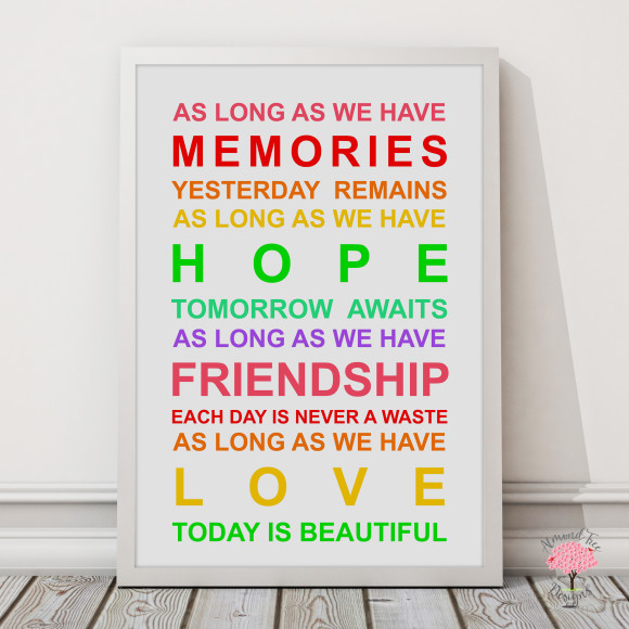 Memories Print in Rainbow, with optional Australian-made white timber frame
