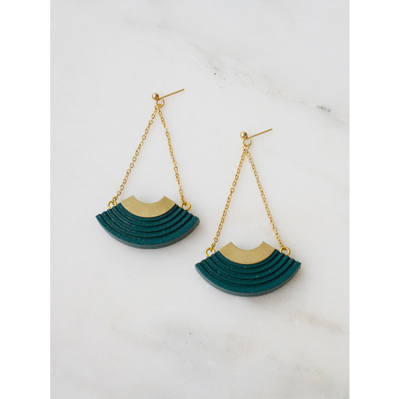 Curve Earrings - Forest Green