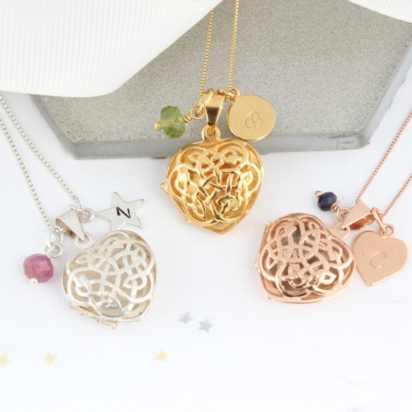 sterling silver rose gold or gold filigree celtic heart locket with July, August and September birthstones