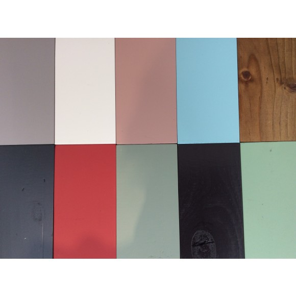 Available colours from top left: French grey, classic cream, shabby pink, powder blue, oak stain, dark grey, muted red, shabby grey/green, dark brown, sage green