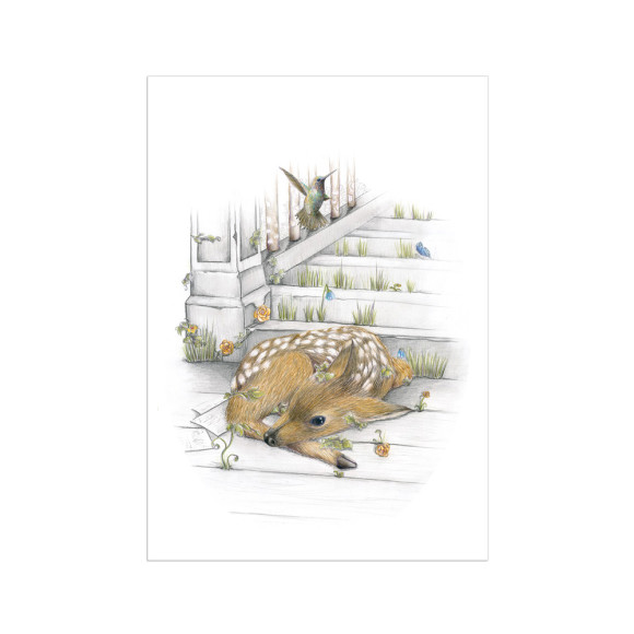 deer forest woodland print