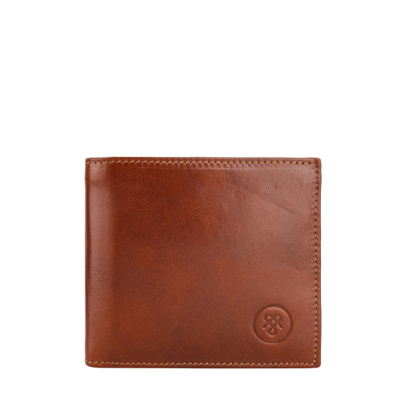 Mens leather wallet in chestnut brown