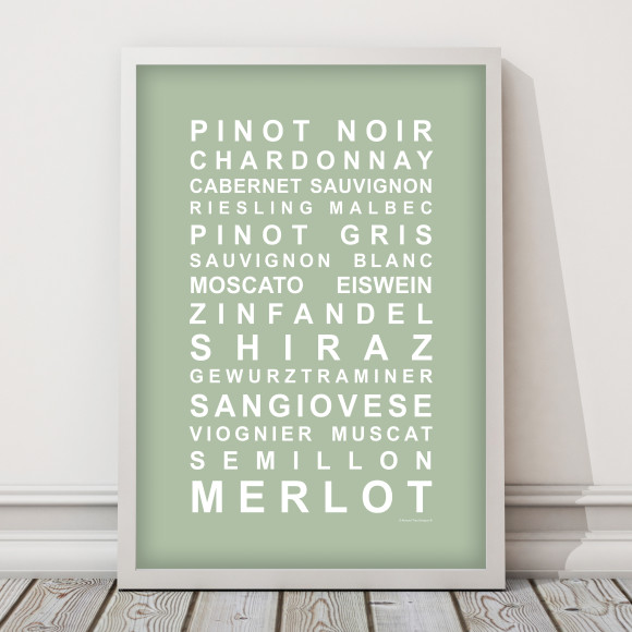 A Nice Drop of Wine Print in Pistachio, with optional Australian-made white timber frame