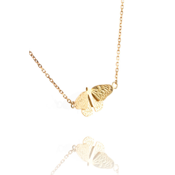Amanda Coleman butterfly pendant gold vermeil close up