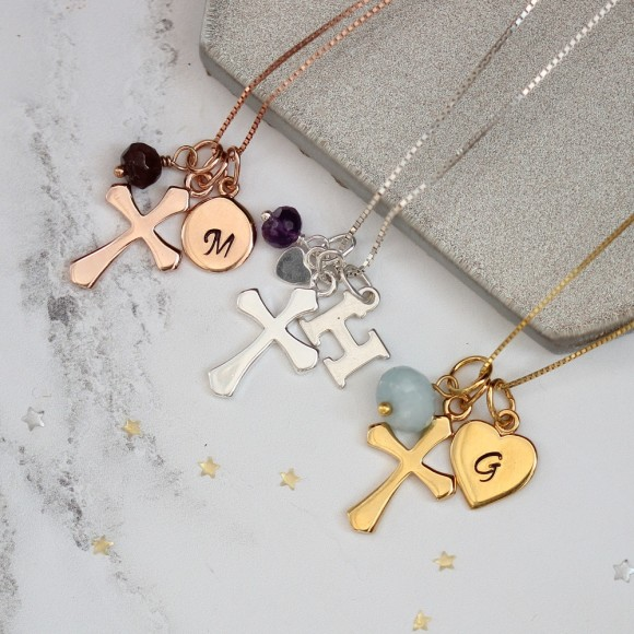 personalised cross in sterling silver, rose gold or gold with january, february and march birthstones