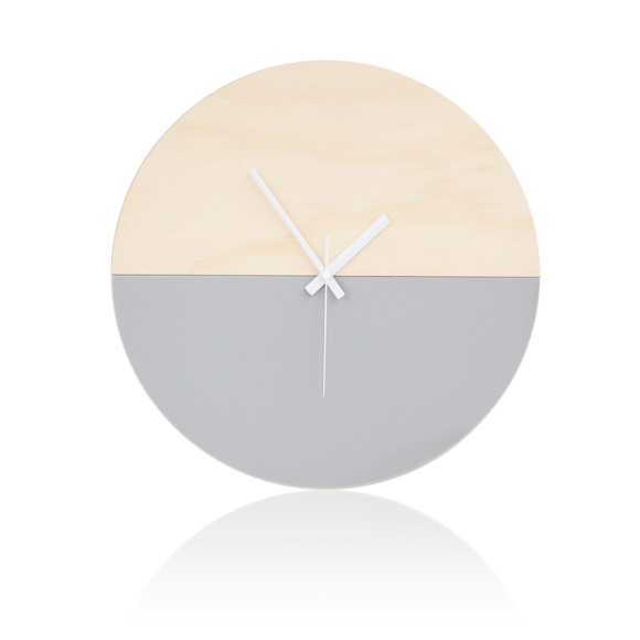 Half moon wall clock in grey 40cm