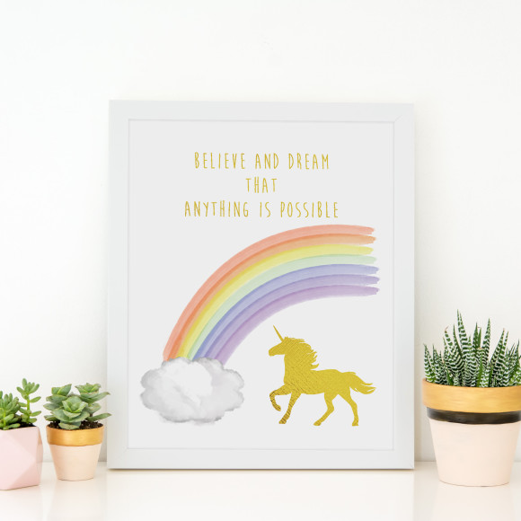 Believe and Dream Unicorn Gold Foil Print in optional white Australian-made timber frame