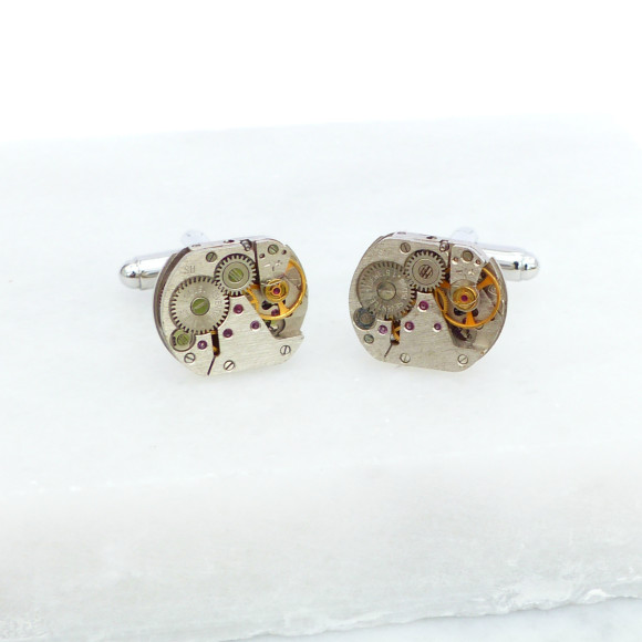 Rounded Square Round Vintage Watch Movement Cufflinks