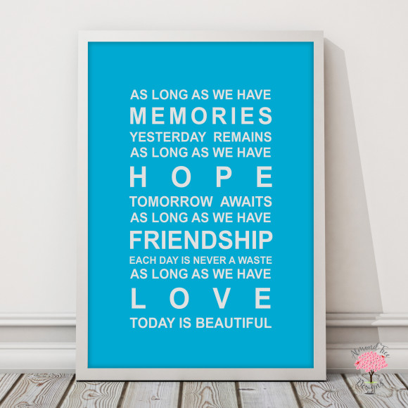 Memories Print in Sky Blue, with optional Australian-made white timber frame