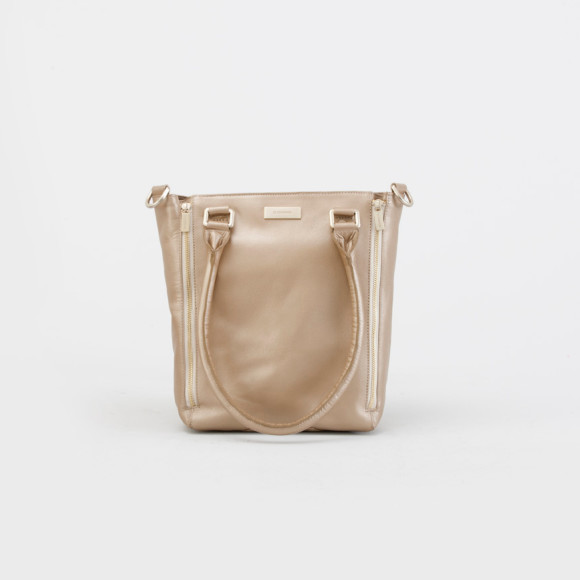Nellie tote bag in gold with contrast cream zipper casing and lining