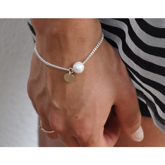Gold fill tag pearl bracelet
