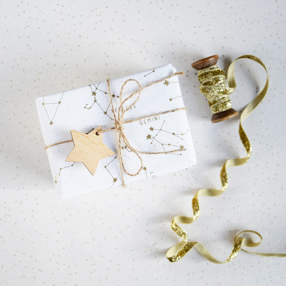 Golden Star Constellations Wrapping Paper Set