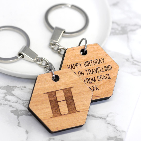 Alderwood Hexagon Keyring