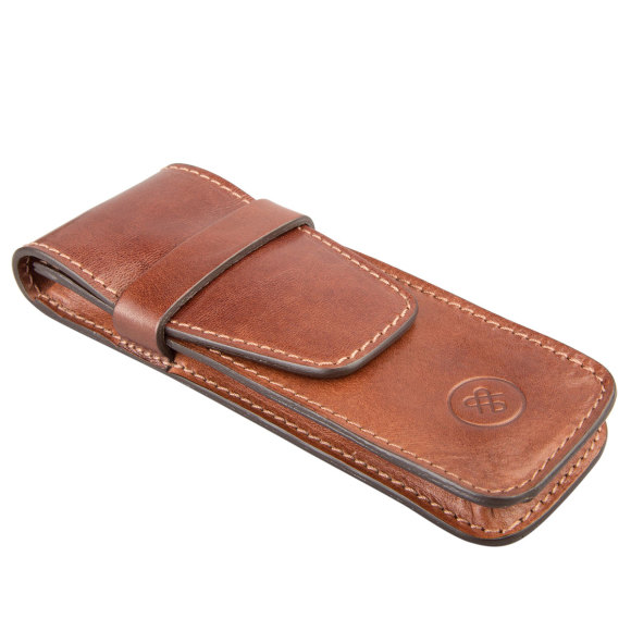 The Pienza pen case in chestnut tan.