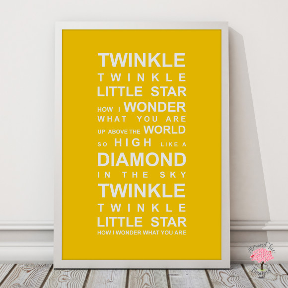 Twinkle Twinkle Print in Yellow, with optional Australian-made white timber frame