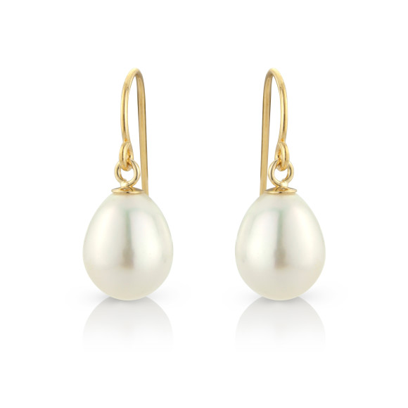 White Tear Drop Pearl Earrings