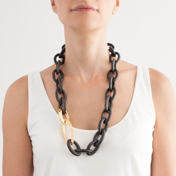 Ebony and gold Bant necklace