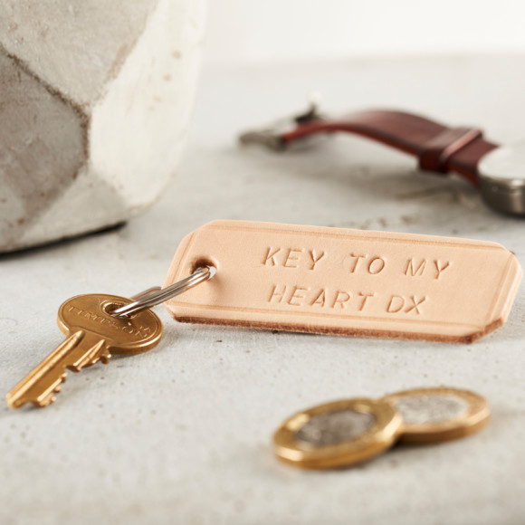 Personalised Handstamped Leather Keyring in natural
