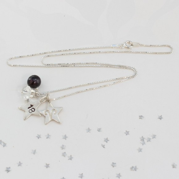 18th birthday necklace with rock crystal and aries zodiac charm for April