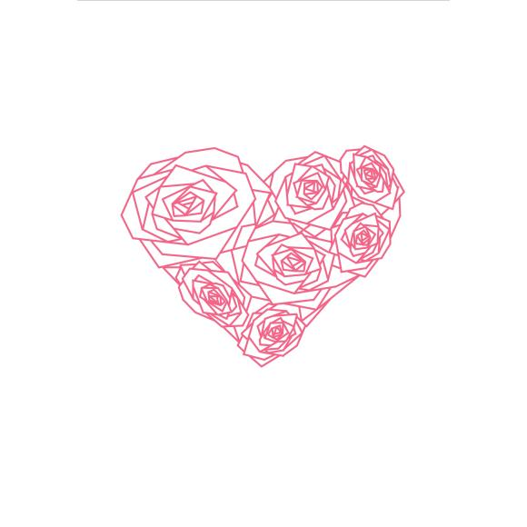 Pink heart of roses - Print
