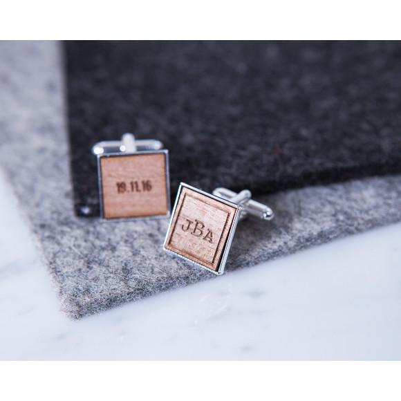 Square Monogram and Date Cufflinks