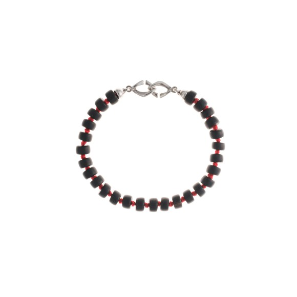Ebony and rhodium Boj bracelet (red threaded)