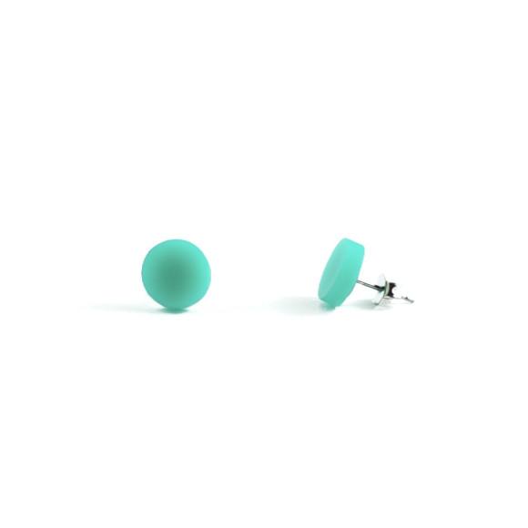 GEO - Circle Earring Studs in Aqua Green
