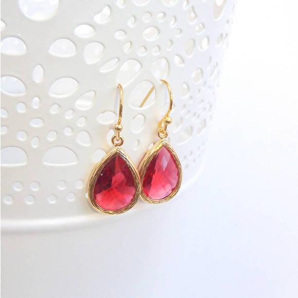 Faceted Glass Teardrop Earrings Ruby