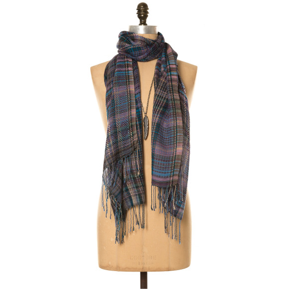 Weekend checkers wool scarf
